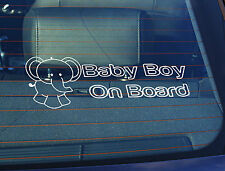 Static Cling Window Car Sign/Decal Baby Boy on Board Elephant 100mm x 250mm
