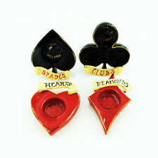 Casino Hearts Diamonds Clubs Candle Holders Blue Sky Clayworks Heather Goldminc
