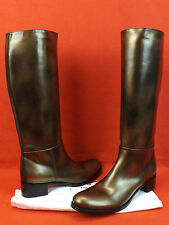 NEW PRADA BRONZE PAINTED LEATHER  EQUESTRIAN TALL RIDING ZIP BOOTS 41 10 $1150