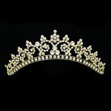 Handmade Gold Bridal Rhinestone Crystal Prom Wedding Crown Tiara 7260
