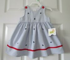 Nwt Starting Out Blue Striped Nautical Sailor Toddler Girl Dress Size 18 Months