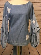 Anthropologie Nanette Lepore Blouse Top Small Chambray Blouson Star Denim Tiered