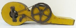 Antique Mechanical Seeder Spreader in Original Yellow Paint w/Display Stand