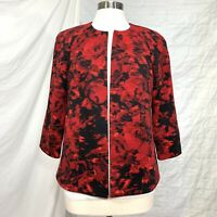 Kasper Womens 8 Jacket Blazer Red Black Ribbed Fabric 3/4 Sleeve Open Front #BB