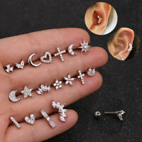 NEW Star Heart Rook Daith Ring Tragus Hoop Ear Piercing Stud Earrings Tiny Small