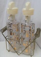 Vintage 1950's '60's pump bar bottles with wire carrier decanters