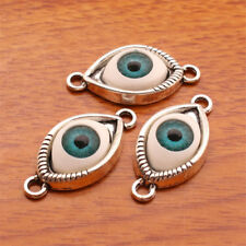 7133# 10 Pieces 3D Evil Eye Protection Charm Linker DIY Jewelry Bracelet Silver