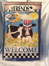 """New listing Summer Cow Double Sided Garden Flag 13"""" x 18 """" FlagTrends Dura Soft $10.99"""