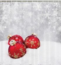 Christmas Red Ornaments Snow Fabric SHOWER CURTAIN Snowflakes Winter Holiday Art