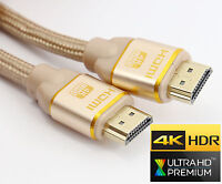 HDMI 2.0 BRAIDED Cable GOLD FULL ULTRA HD TV 3D 4K 2160p 0.5m 1m 2m 3m 5m 10m