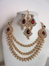 Indian Bollywood Traditional Red Kundan Pearls Gold Tone Fashion Jewellery Set