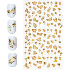 New 3D Gold Holographic Tree Leaf Design Nail Art Manicure Tips Stickers Decals