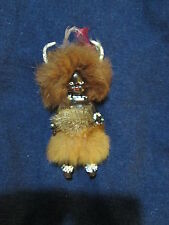 "Vintage 5"" PML Tribal Doll South Africa Johannesburg Fur Horns Witch Doctor"