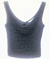 White House Black Market WHBM  Black Shell Drape Neck Womens XS Tank Top Blouse