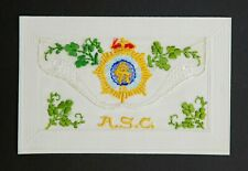 WW1 Embroidered Silk Postcard ASC Army Service Corps Excellent Condition