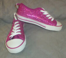 Nip Old Navy Fuscha Glitter Sparkle Lace Up Sneaker for Girls Sz Us 1 Youth
