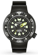 Citizen BN0175-19E Men's Eco Drive Promaster Black IP PU Band 300M Dive Watch