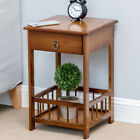 19%22+Bamboo+Side+Table+2-Tier+Bedside+Couch+Sofa+Chairside+End+Table+with+Drawer+