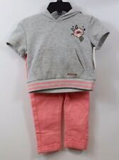 HUDSON Infant Girls 2-piece Short Sleeve Sweatshirt Pants Outfit Gray Coral