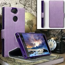 ION ™  Boxed Cover Impact Resistant Leather Purple Book Case Sony Xperia XA2