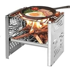 Camping  Picnic Travel Stainless Steel Square Wood Stove Folding Grill BBQ