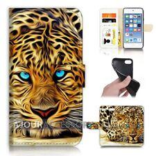 ( For iPod Touch 6 ) Wallet Flip Case Cover AJ21046 Blue Eye Leopard