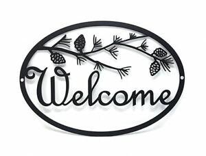 Welcome Metal Sign, Metal Home Decor, Metal Wall Art- **Pine Tree Branch**