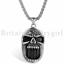 Gothic Skull Beer Bottle Opener Pendant Stainless Steel Biker Necklace for Men
