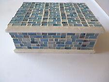 Blue Mosaic Spectrum Jewellery Storage Box With Mirror - Hand Made in Bali
