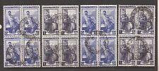 1950 ITALIA AL LAVORO RUOTA c. 50 + L. 1 IN 2 BLOCCHI DI 4 USATI E PERFETTI € 27
