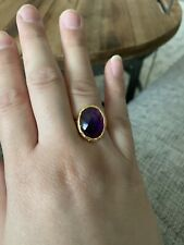 Amethyst Adjustable Ring In Gold Plated