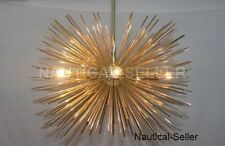 Mid Century Modern Large Round Urchin Chandelier Polished Brass Starburst Light