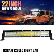 10D Quad-Row 768W CREE 22Inch Curved LED Light Bar Flood Spot Driving Work Lamps