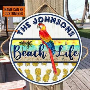 Beach Life Parrot Custom Wood Circle Sign Round Wooden Signs