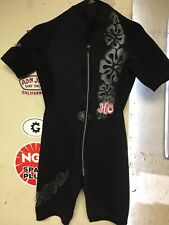 AquaSeal Black Floral Shorty Wetsuit Ho Sports Women's Size 10 Good Condition