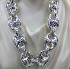 925 Sterling Silver 28Inch 17mm 124Gr Mens Puffed Mariner Link Chains Necklaces