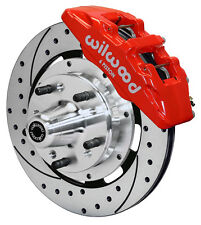 """WILWOOD DISC BRAKE KIT,FRONT,65-72 CDP C-BODY,12"""" DRILLED,6 PISTON RED CALIPERS"""