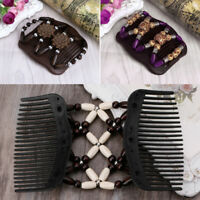New Magic Wood Beads Double Hair Comb Clip Stretchy Women Hair Accessories Easy