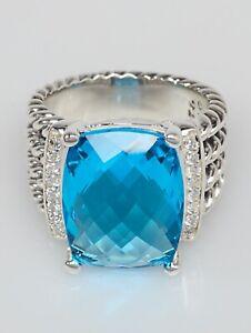Natural Blue Topaz Gemstone Real Diamond 18K White Gold Men's Ring SR836