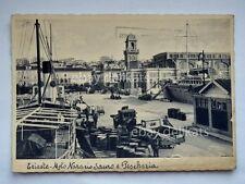 TRIESTE Molo Nazario Sauro PESCHERIA animata lavoratori porto
