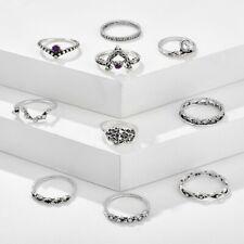 Set of 10 Rings Boho Knuckle Fashion Hand Crown Love Diamond Thumb Stack Jewelry