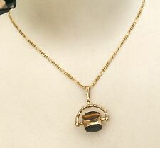 Beautiful Ladies Vintage 9ct Gold Gemstone Spinner Pendant On 9ct Gold Chain