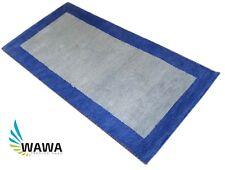 Gabbeh Teppich 70x140 cm Handgeknüpft  ~ 100% Wolle ~ Beige Blau ~ G64