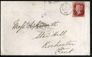 GB QV 1866 COVER SC#A10/33/PLT# 72 DUPLEX BARRED-SW17  LONDON TO ROCHESTER