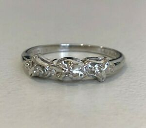 14k solid gold & Diamond band ring 1.79g size M -  6