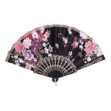 New Spanish Flamenco Vintage Fabric Folding Hand Fan Night Party Fans Black