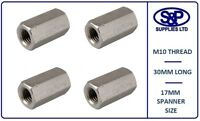 M10 (10MM) STAINLESS STEEL STUD CONNECTOR HEX DEEP NUT 30MM LONG 17MM SPANNER