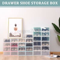 6 Pack Shoe Box Stackable Storage Case Durable Plastic Foldable Shoes Organizers