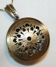 Lacy Starburst Round Brasstone Locket Pendant Necklace