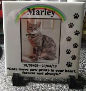 Personalised Custom Pet CAT Photo Memorial Tile Memorial Plaque - Poem,Picture